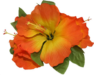Hawaiian Orange Hibiscus 3 Cluster Silk Flower Hair Clip Shaka Time