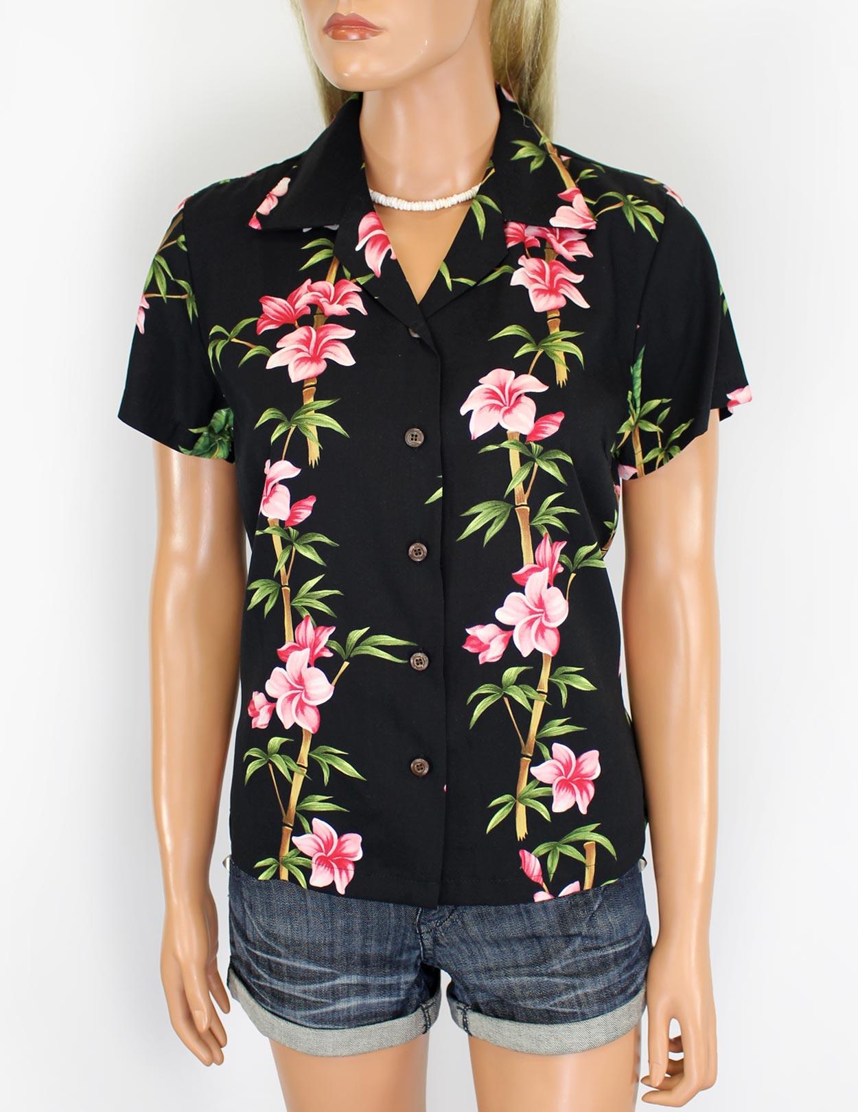 Hawaiian Rayon Shirt For Women Bamboo Hibiscus Island