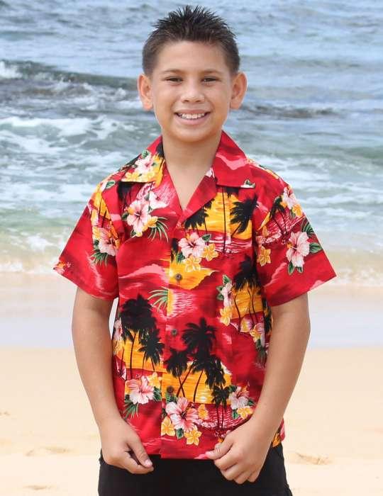 87922b96 Hawaiian Island Sunset Boys Hawaii Shirt: Shaka Time Hawaii Clothing Store