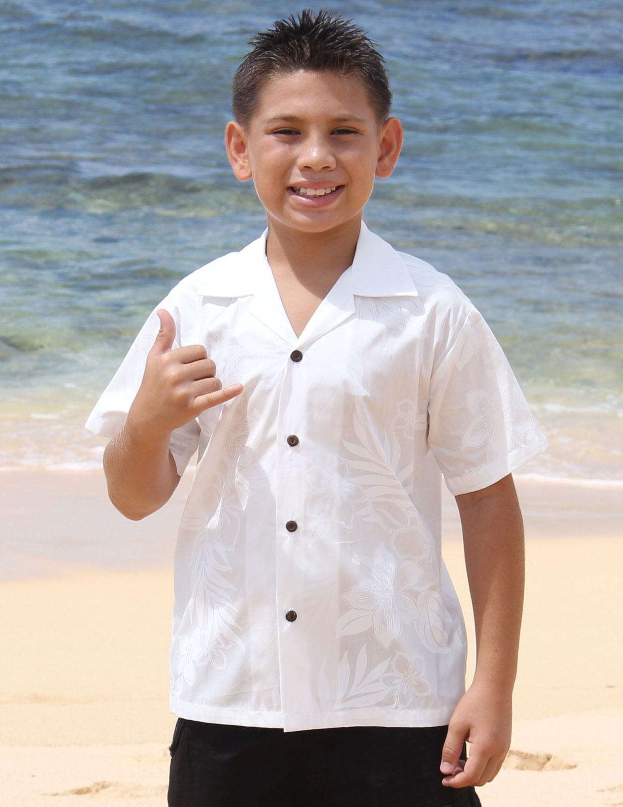 La Ele Hawaiian Kids White Shirt Shaka Time Hawaii