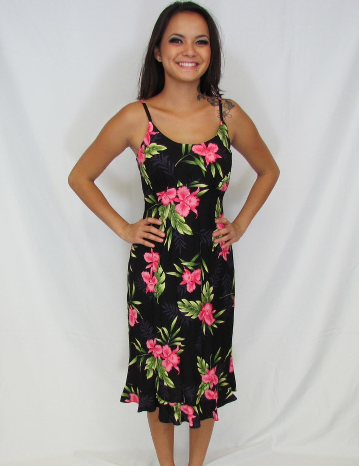 Black Okalani Spaghetti Mid Length Hawaiian Dress Shaka