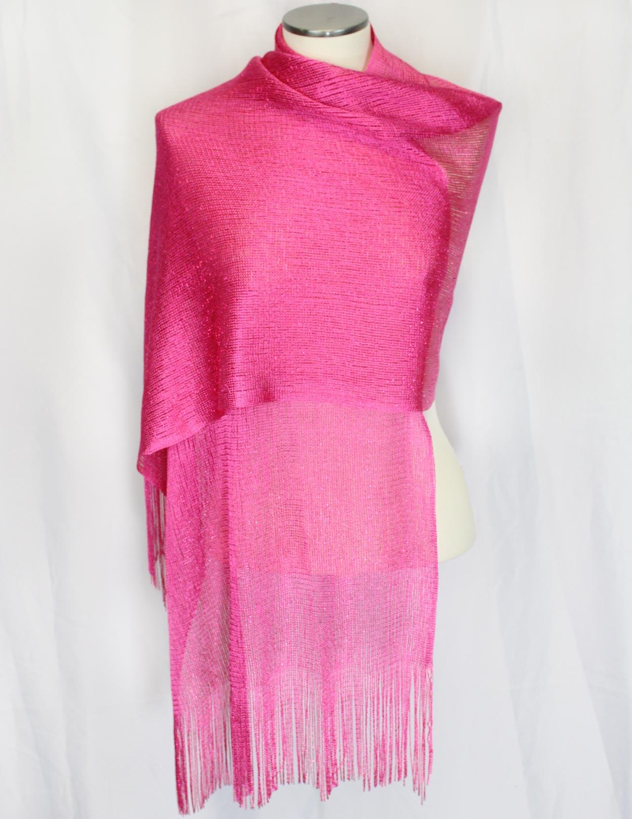Hot Pink Fishnet Fringed Evening Sheer Wrap Shawl Shaka
