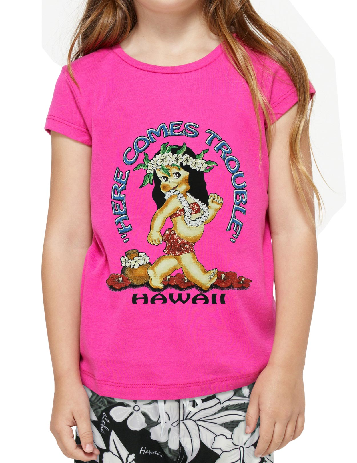 Children t shirt here comes trouble baby girl shaka for Hawaiian graphic t shirts