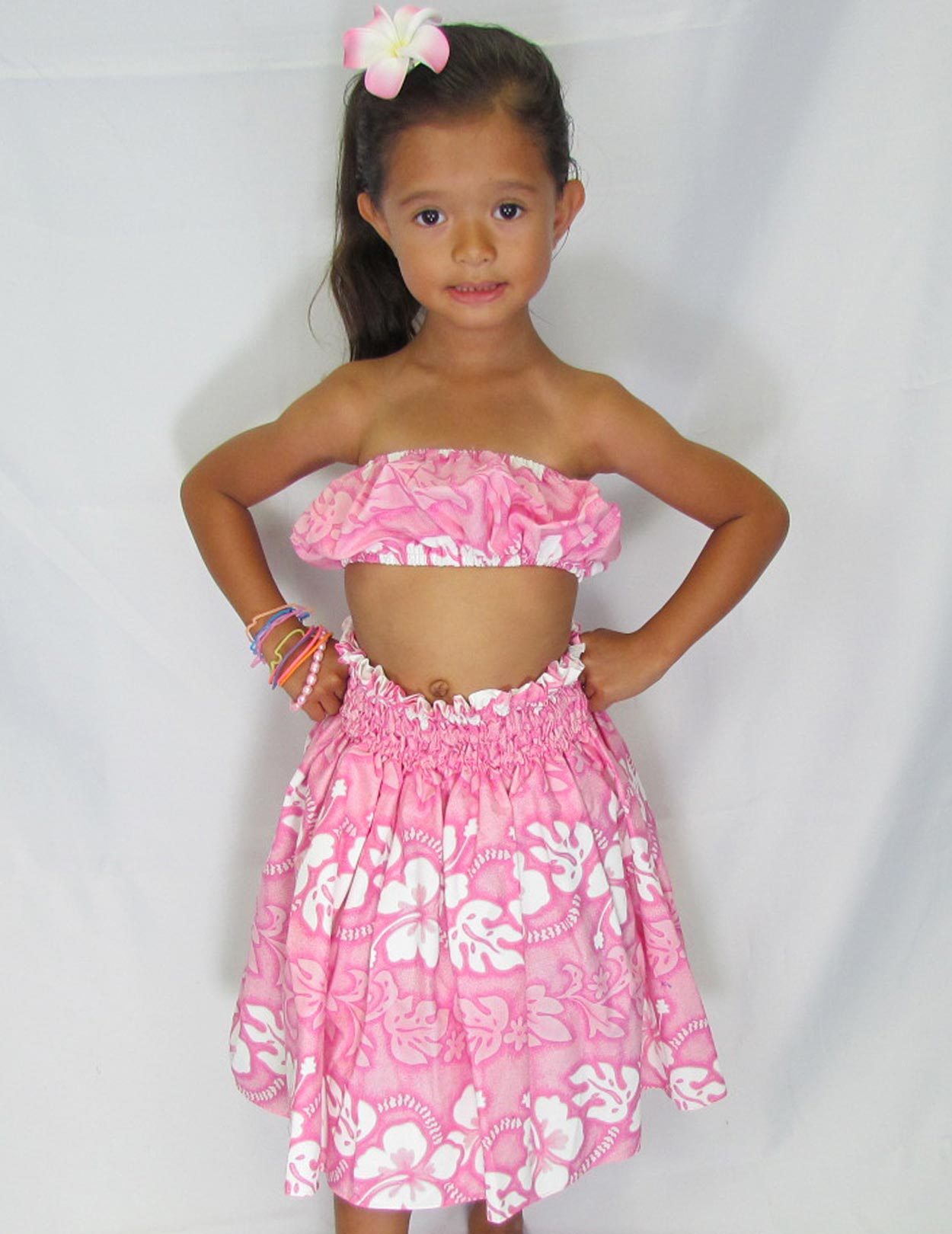 Pink Hawaiian Girls Hula Set Hibiscus Leis Shaka Time