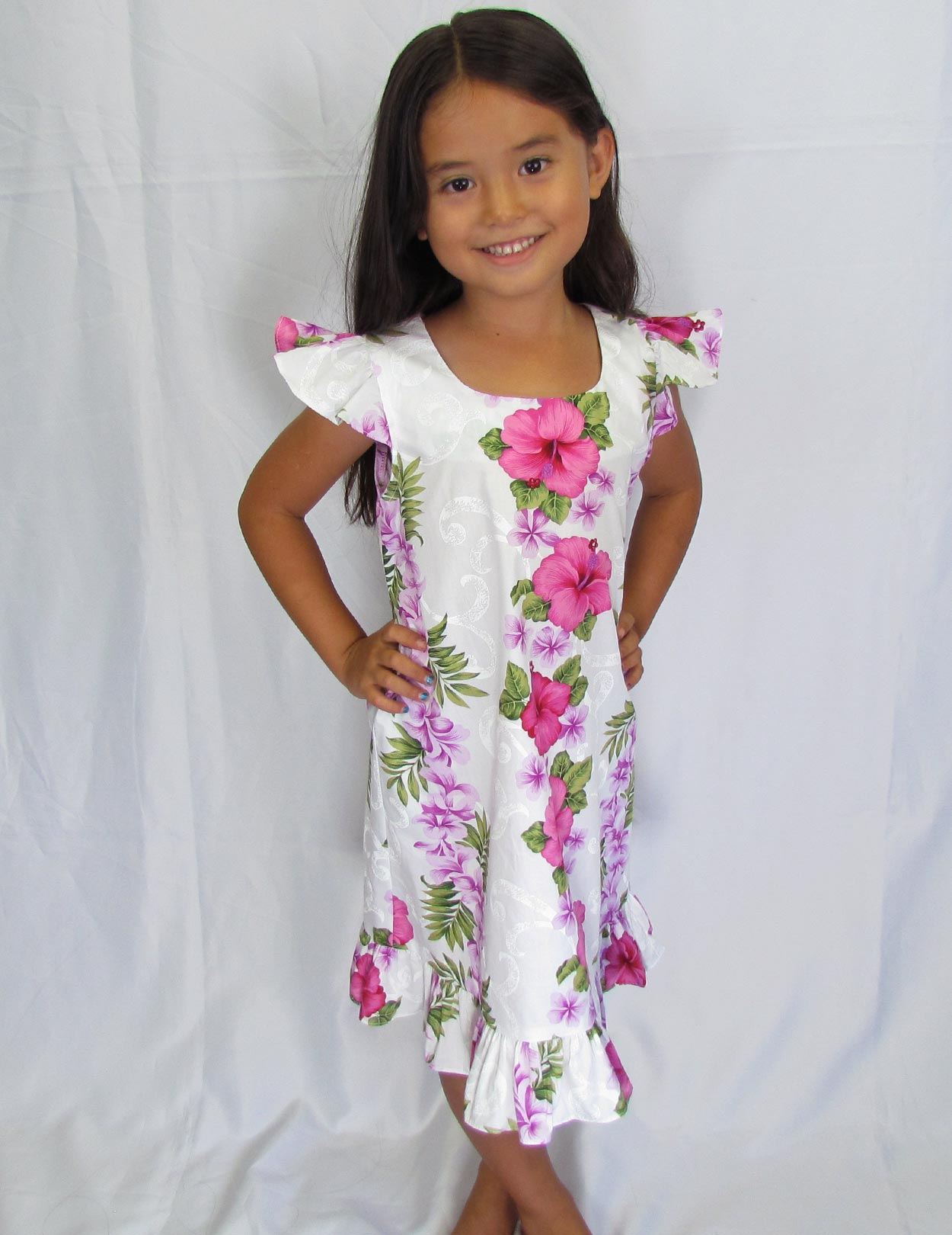 Girl Hawaiian Dress Big Island White Pink Shaka Time