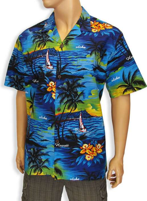 cd5c79d62 Island Sunset Luau Men Aloha Shirt: Shaka Time Hawaii Clothing Store