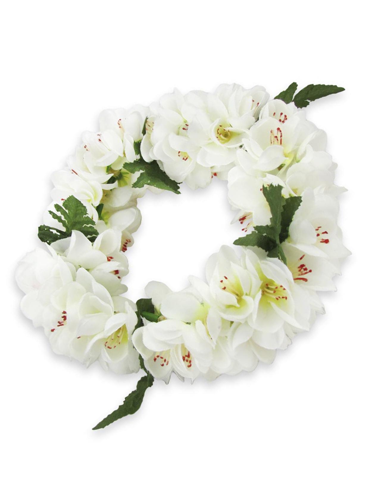 White Shell Ginger Silk Flower Headband Shaka Time Hawaii Clothing