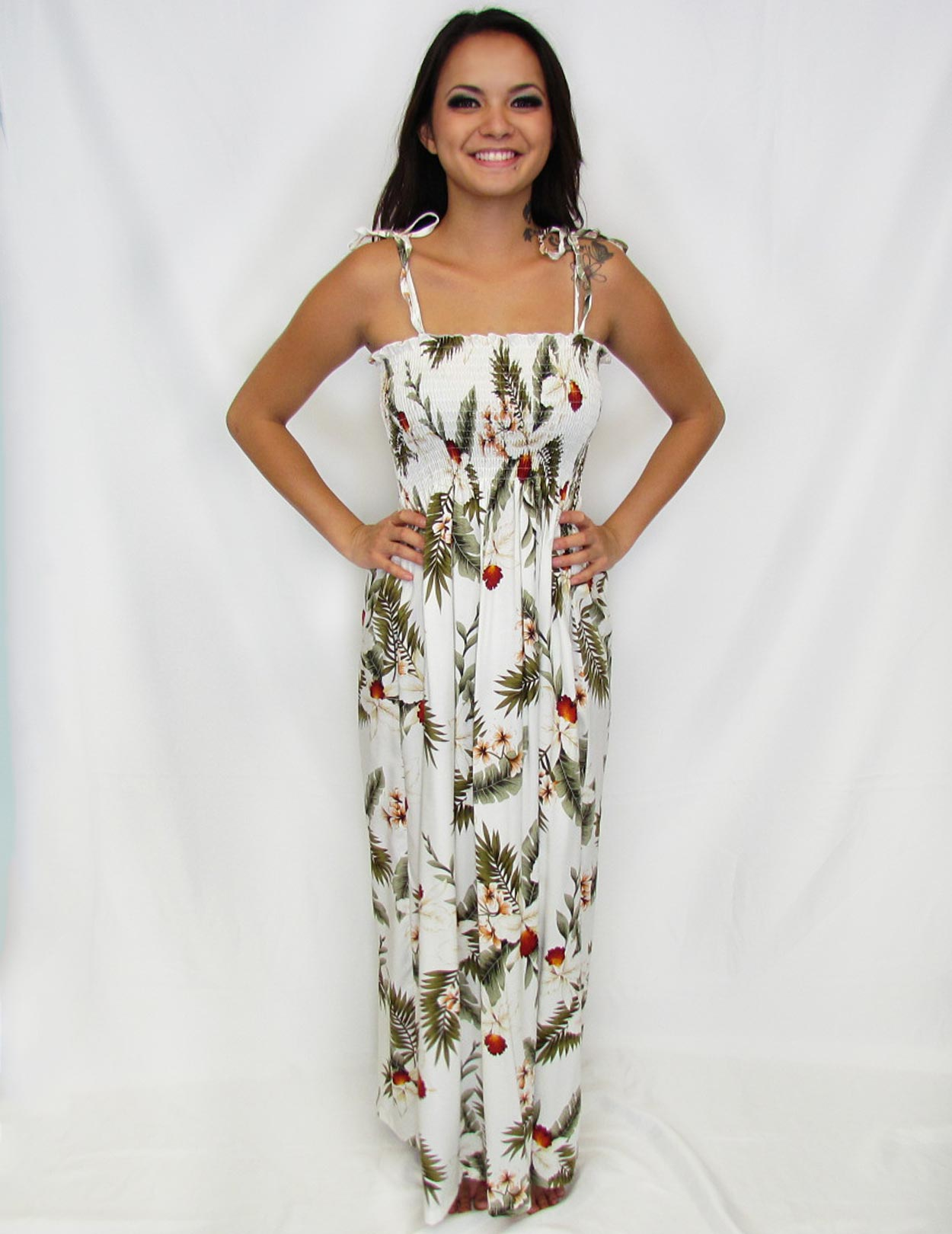 Hanapepe long island single size aloha white dress shaka