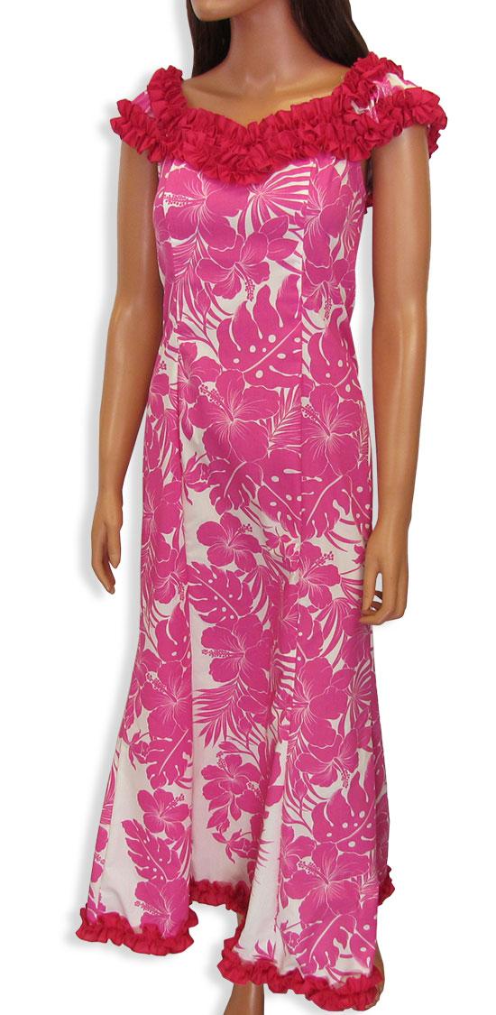 Long Tropical Ruffle Muumuus Dress Mahealani Shaka Time