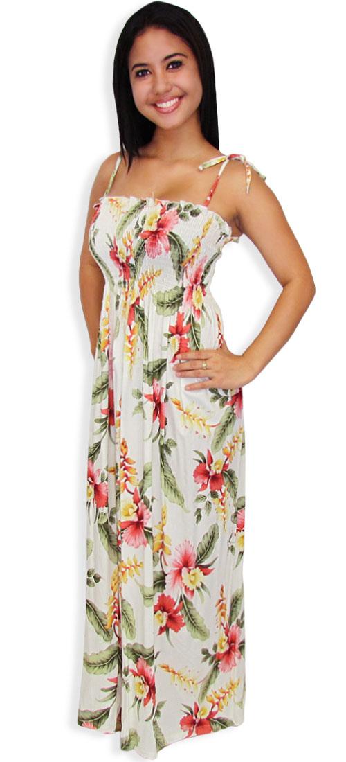 9b2099e122d3 Long Tube Top Rayon Smock Dress Orchid Pua: Shaka Time Hawaii Clothing Store