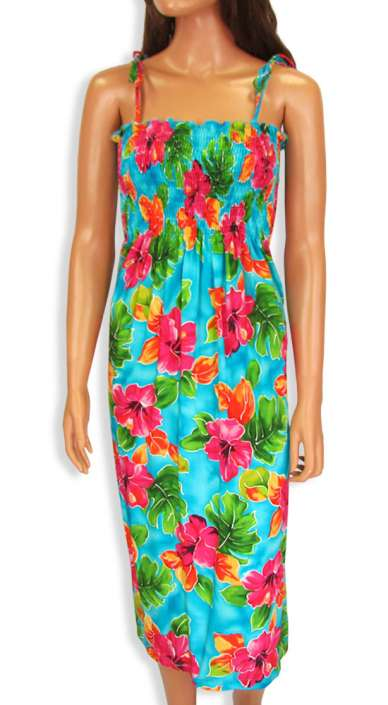 308838feec7 Hibiscus Watercolor Smock Dress with Straps  Shaka Time Hawaii Clothing  Store