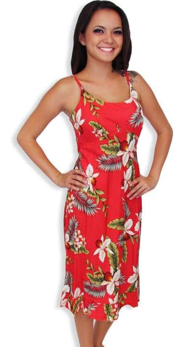 6c5af0b8ad9 Midi Rayon Aloha Spaghetti Straps Red Dress Hanapepe