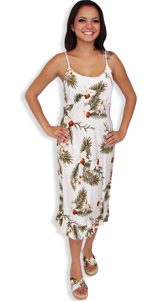 Spaghetti mid length white hawaiian dress hanapepe shaka