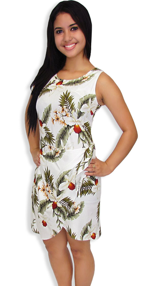 Sarong dress in rayon hanapepe orchids shaka time hawaii