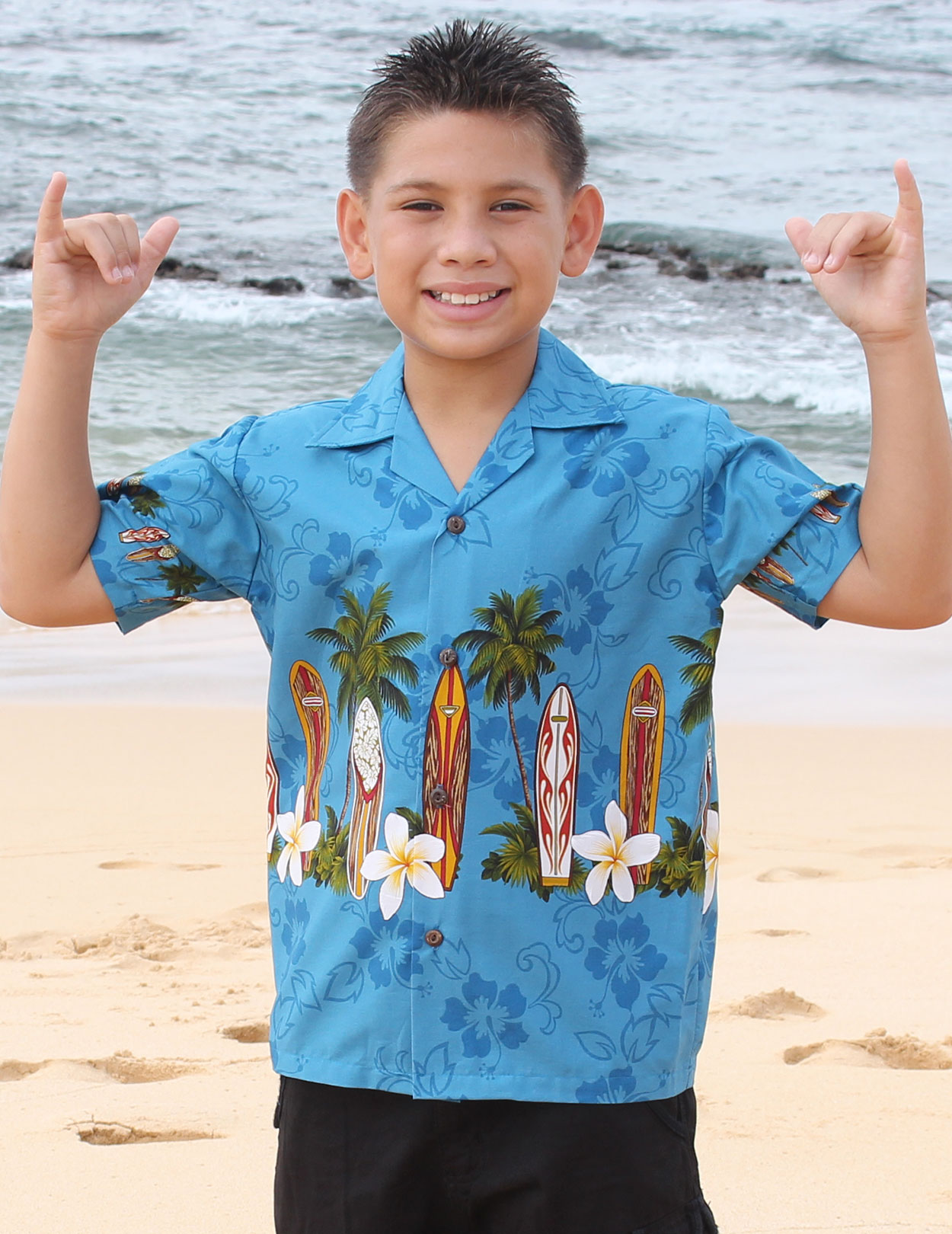 Surfing Classic Boards Boys Aloha Shirt Shaka Time Hawaii Clothing Store