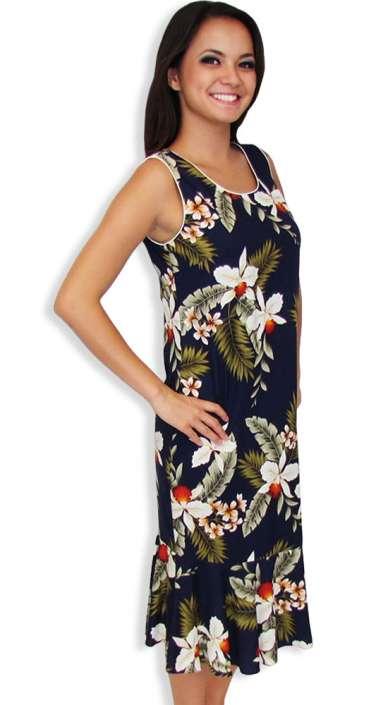 ed434eee41e42 Hawaiian Tank Sleeveless Navy Dress Mid Length Hanapepe  Shaka Time Hawaii  Clothing Store