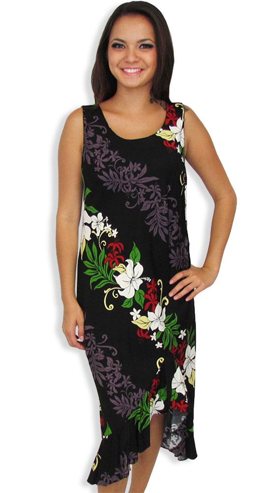 2b170a614dc Black Lokelani Tank Ruffled Resort Mid Length Dress  Shaka Time Hawaii  Clothing Store
