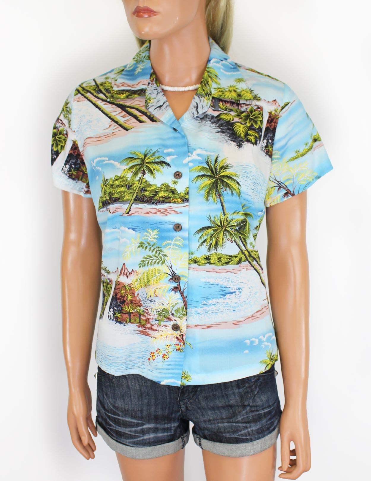 Hawaiian Hana Hou Scenic Rayon Shirt For Women Shaka Time