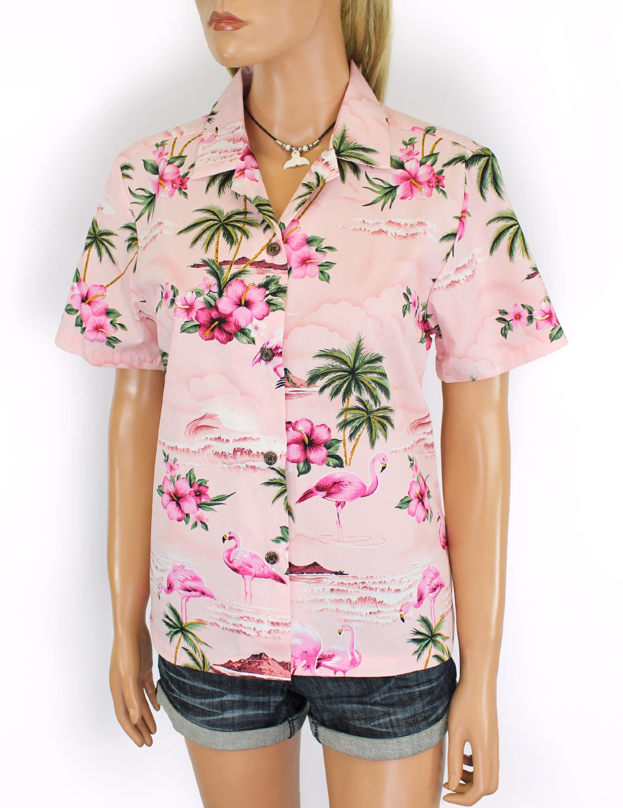 d5dff2c4 Florida Flamingos Aloha Camp Shirt for Women: Shaka Time Hawaii Clothing  Store