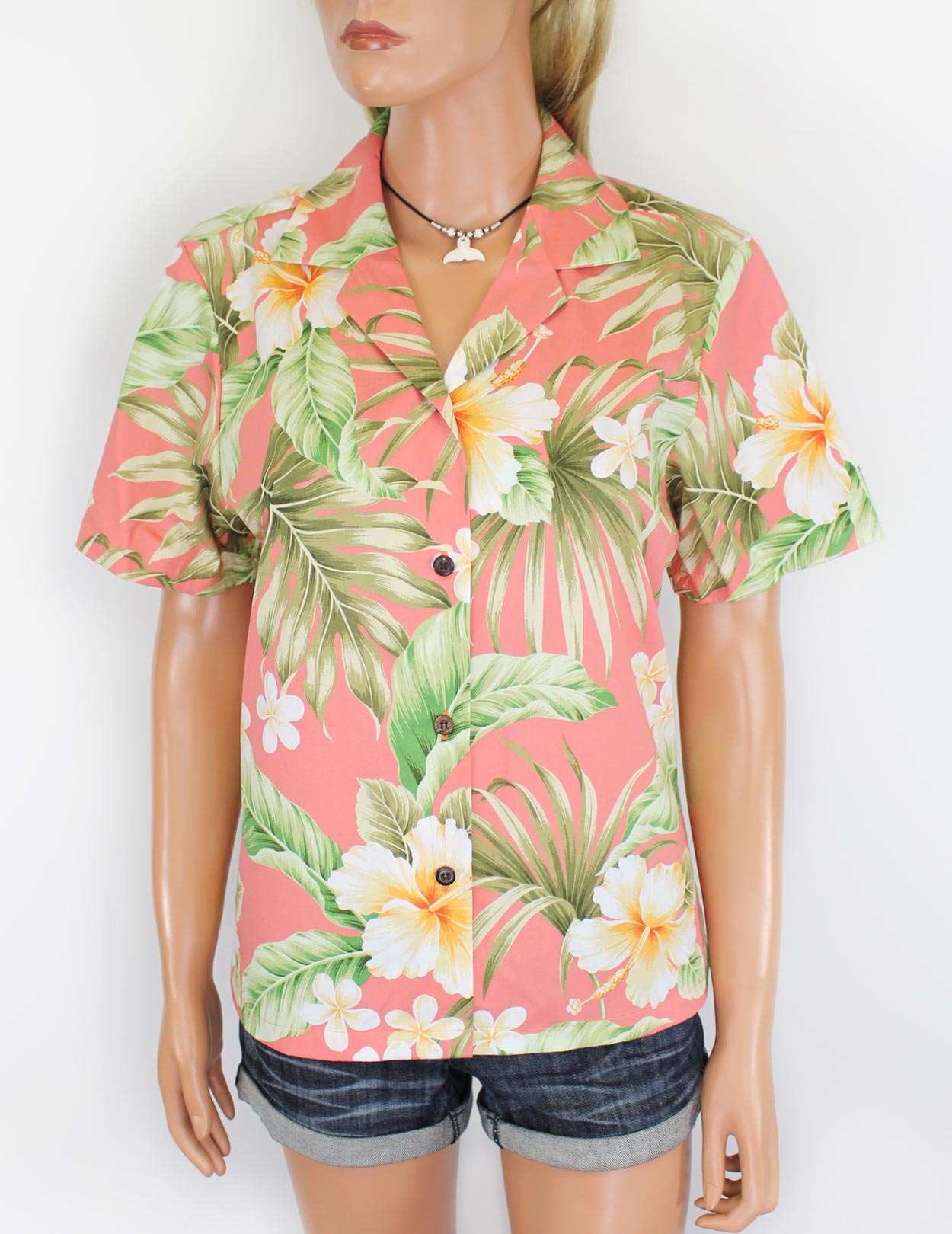 Flower hibiscus cotton women aloha camp shirt shaka time for Hawaiian graphic t shirts
