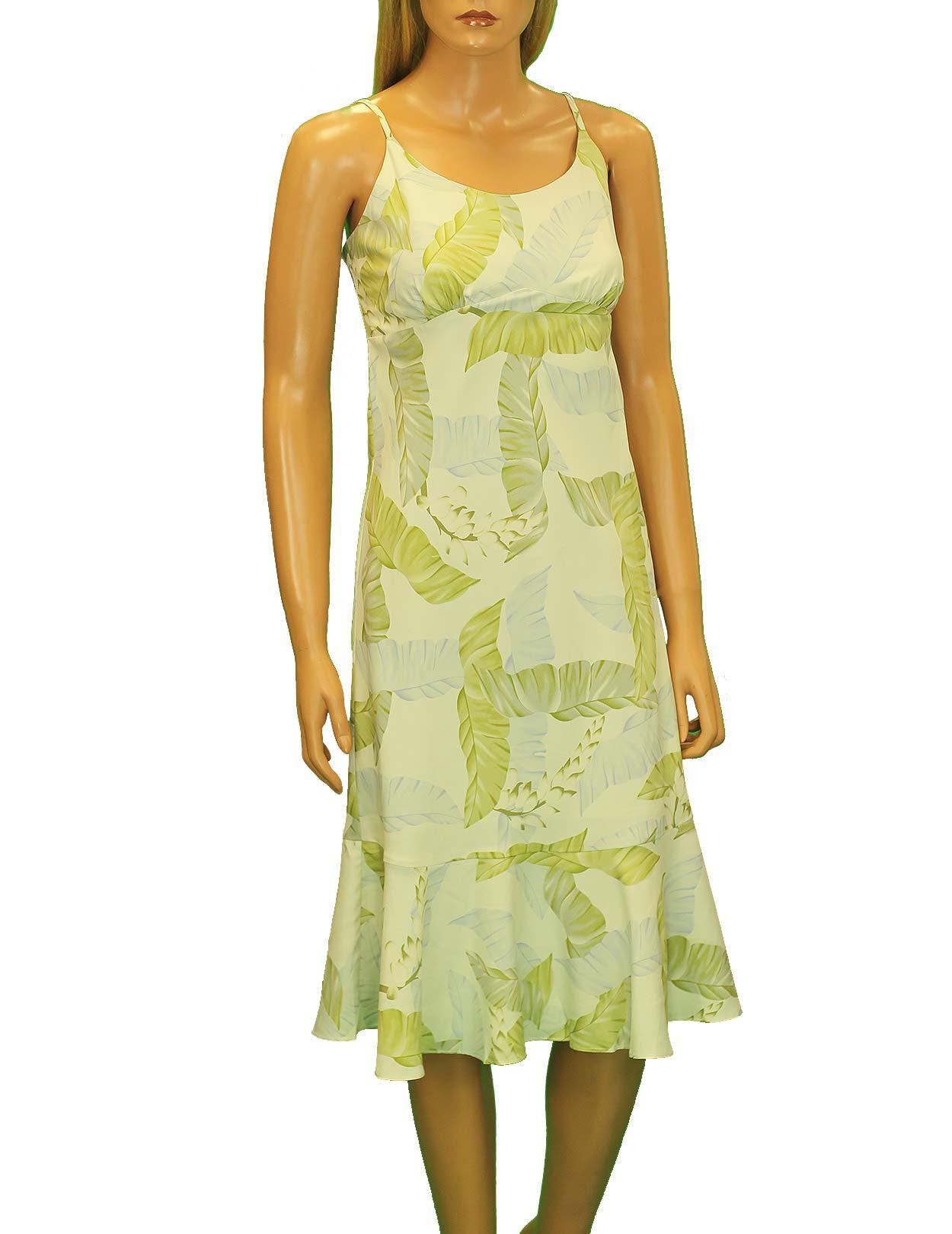 Silk Hawaiian Mid Green Dress Spaghetti Straps Shaka Time Hawaii Clothing