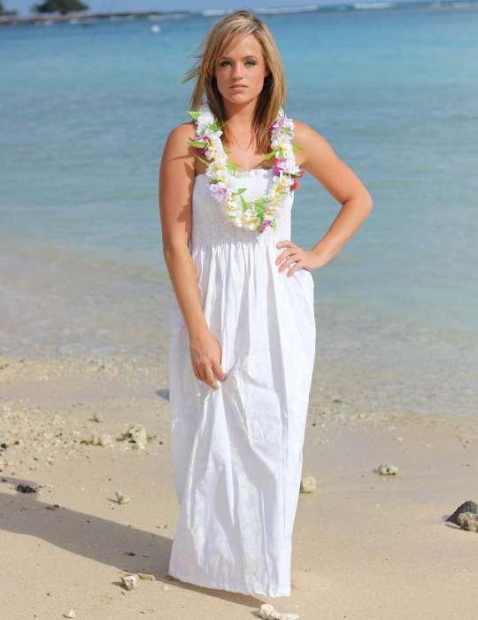Maxi Smocked Top Long Hawaiian Wedding Dress