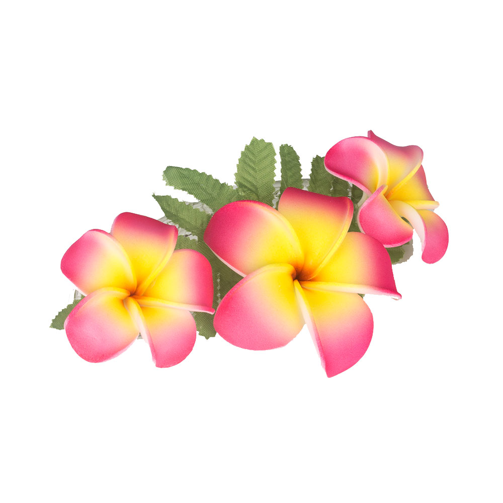 Three Plumeria Flowers Cluster Hair Clip Pink Yellow