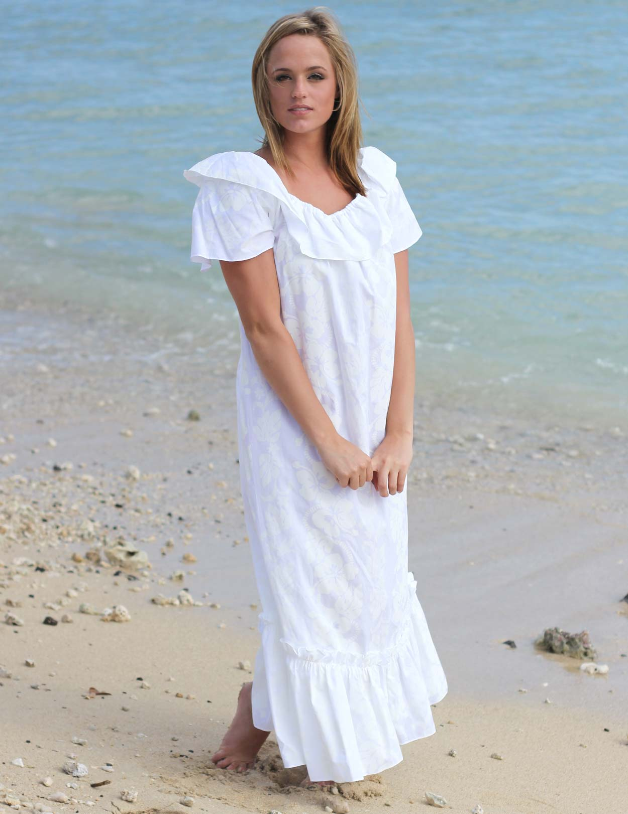 White long ruffled wedding hawaiian muumuu shaka time for Wedding dresses for hawaii