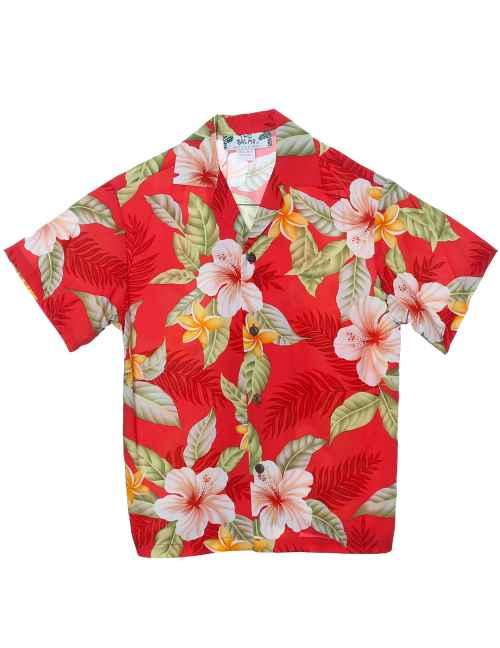 Boys Hawaiian Shirt Ula Ula Hibiscus Red