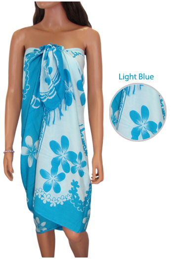 Beach Sarong Cover Up Pareo Plumeria Flower Light Blue