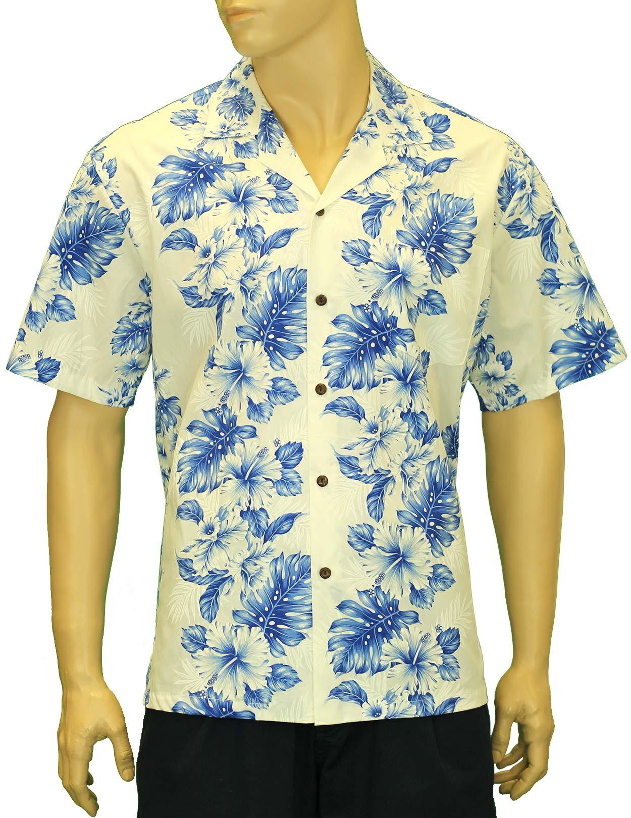 Hawaiian Aloha Shirt Haku Laape White Royal Blue Shaka