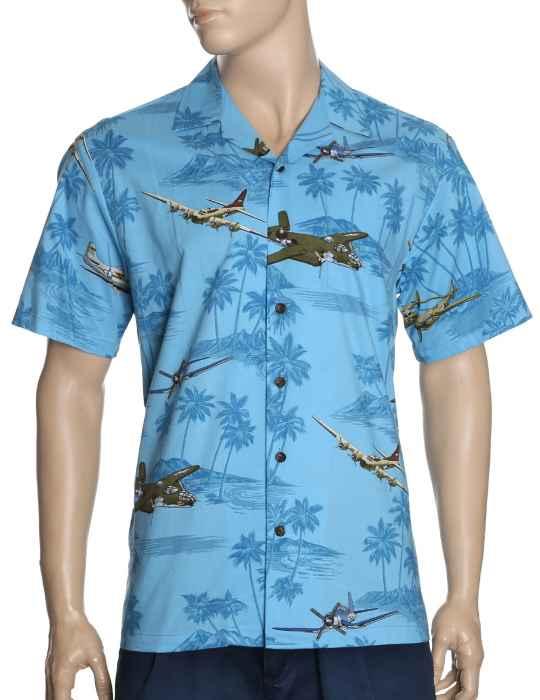 670b9dbb Hawaiian Shirt Warplanes Flying Over the Islands: Shaka Time Hawaii  Clothing Store