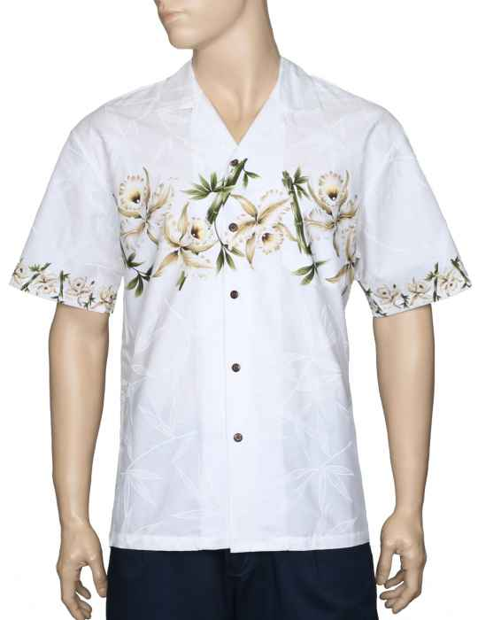 097c59db8548d0 Orchids Chest Border Hawaiian White Shirt: Shaka Time Hawaii Clothing Store