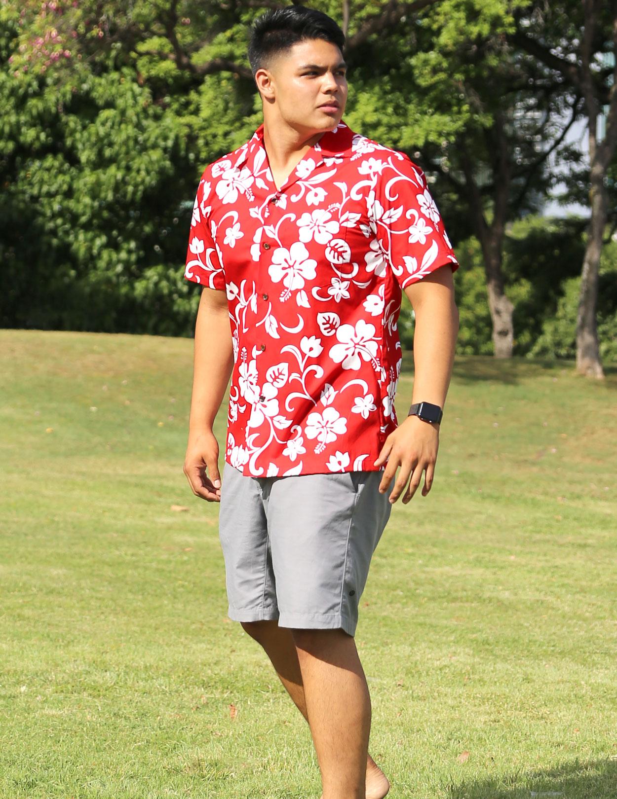 Hawaiian Aloha Shirt Hibiscus Kaneohe Shaka Time Hawaii