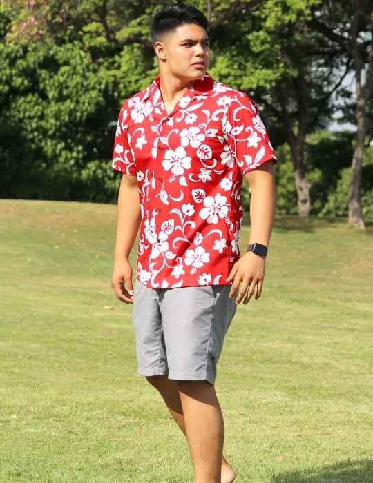 1232a2e2d88 Hawaiian Aloha Shirt Hibiscus Kaneohe  Shaka Time Hawaii Clothing Store