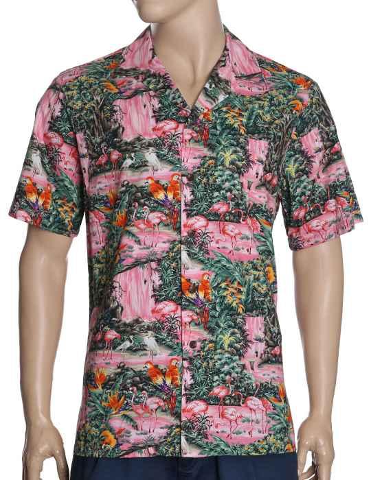 5b746a1eb060fe Aloha Shirt Flamingos at the Waterfall: Shaka Time Hawaii Clothing Store