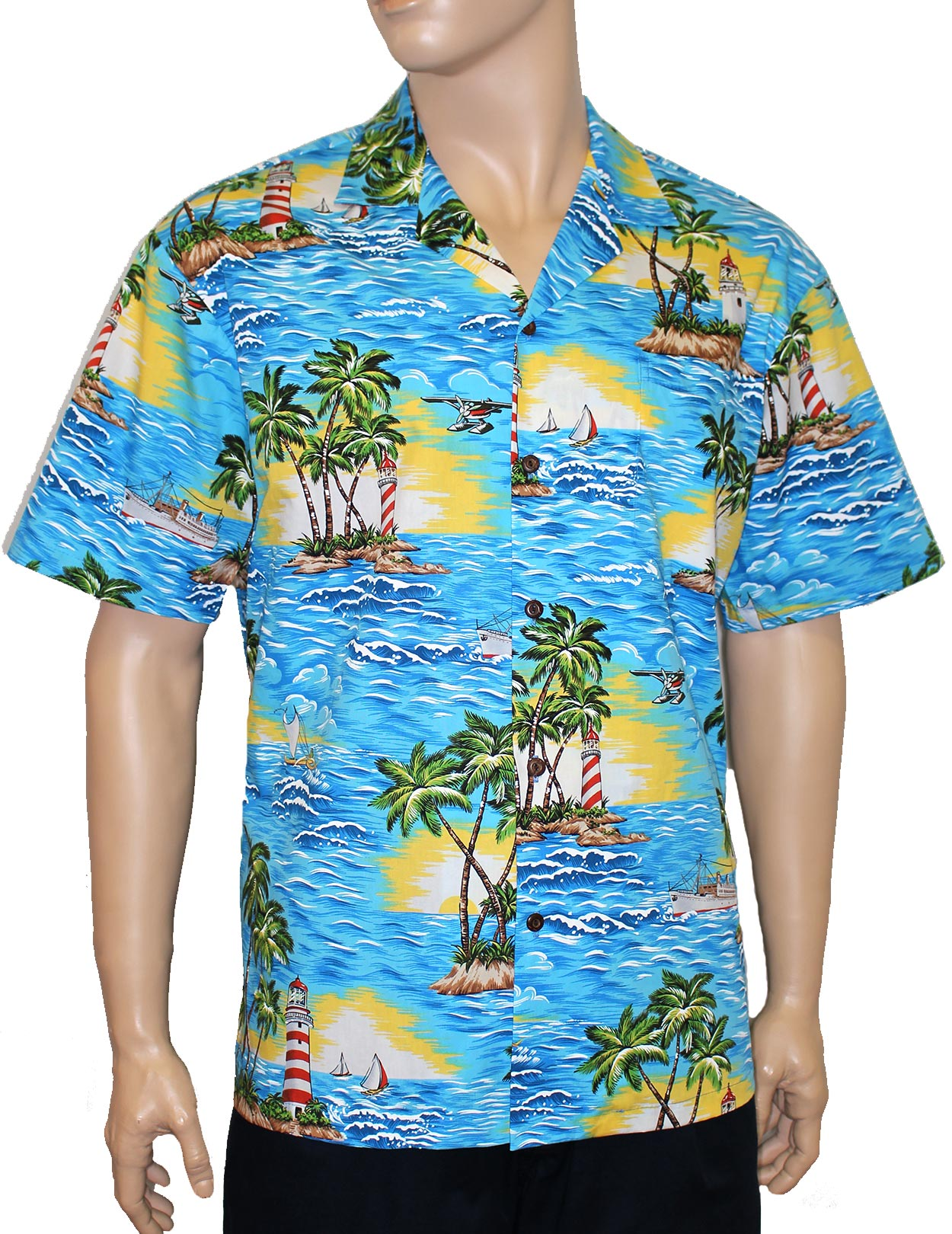 Tropical aloha shirt diamond head lighthouse shaka time for Hawaiian graphic t shirts