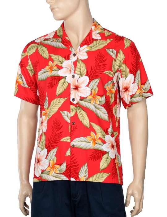 517d2886 Men Hawaii Shirt Ula Ula Hibiscus Red: Shaka Time Hawaii Clothing Store