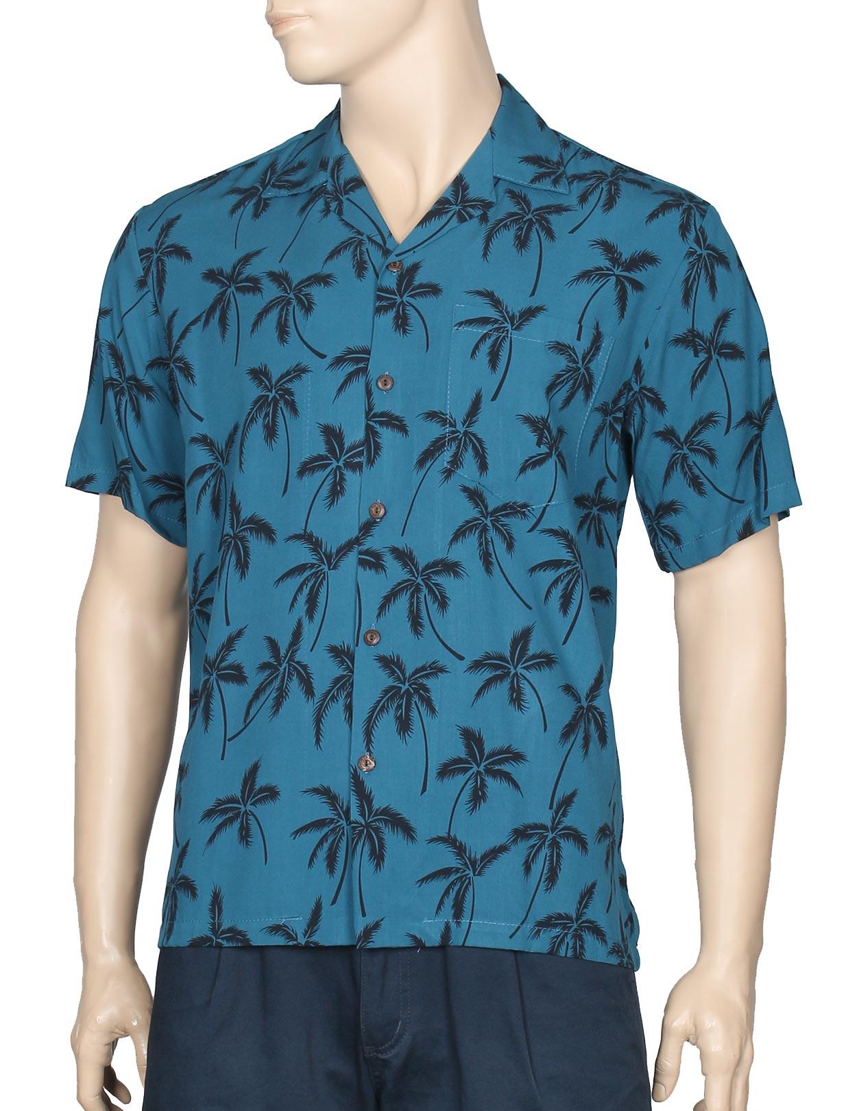 Aloha palms rayon shirt for men shaka time hawaii for Mens rayon dress shirts