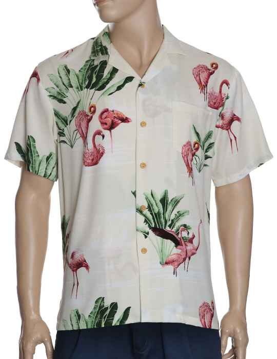 656b268d992ad0 Travel Palms and Flamingos Rayon Aloha Shirt: Shaka Time Hawaii Clothing  Store