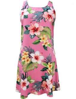 c35c879b042 Hibiscus Beautiy A-Line Short Hawaiian Dress Back Cutout with Tie