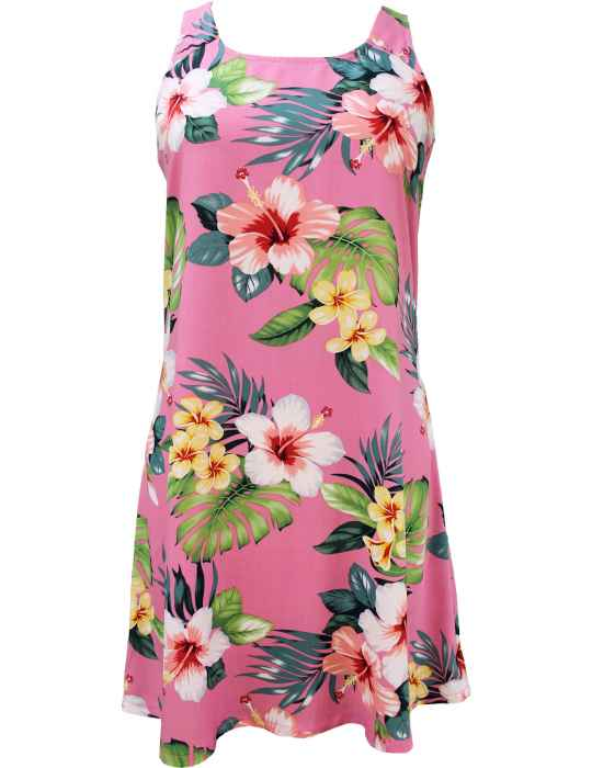 523d1a961cc Hibiscus Beautiy A-Line Short Hawaiian Dress Back Cutout with Tie  Shaka  Time Hawaii Clothing Store