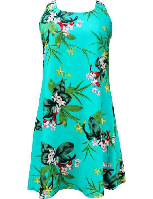 90399e574e5 A-Line Hawaiian Dress Back Cutout with Tie Mini Orchids  Shaka Time Hawaii Clothing  Store