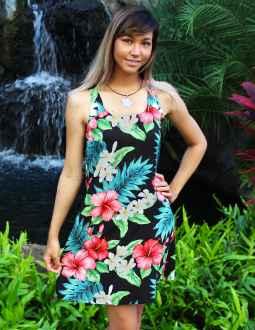 5e0ac5eca47 Hibiscus Short Hawaiian A-Line Dress Back Cutout with Tie