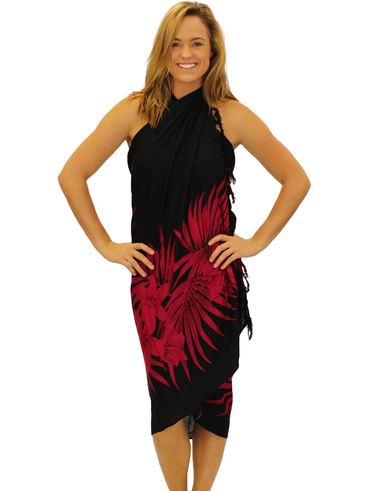 Black Red Soft Rayon Sarong Cover Up Plumeria Magic Shaka