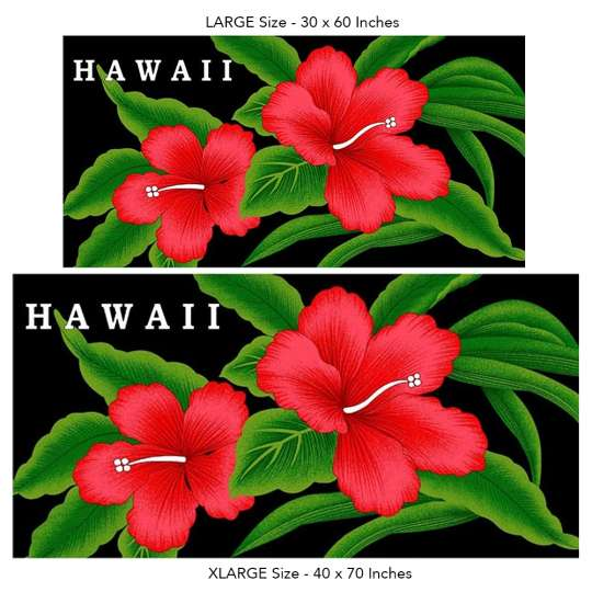 591b2038c96 Red Hibiscus Hawaii Beach Towel on Black: Shaka Time Hawaii Clothing Store