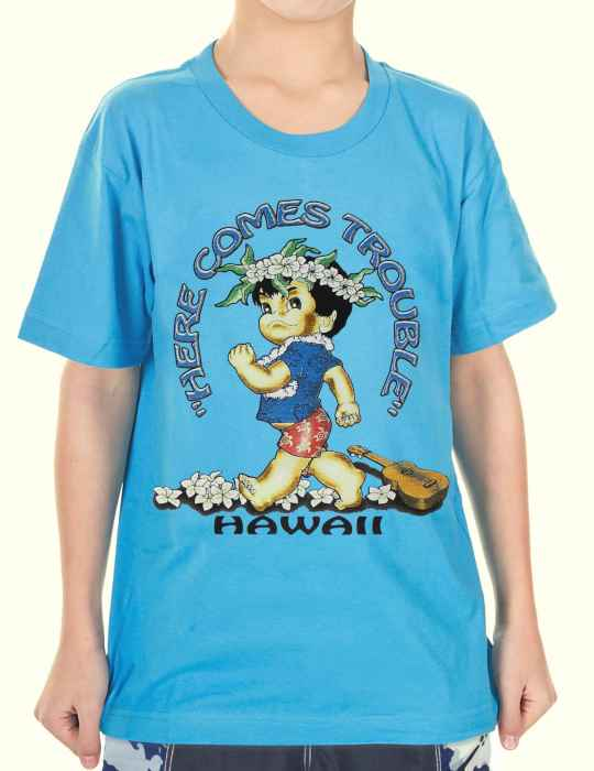 11563ba481bc Here Comes Trouble Boy's T-Shirt: Shaka Time Hawaii Clothing Store