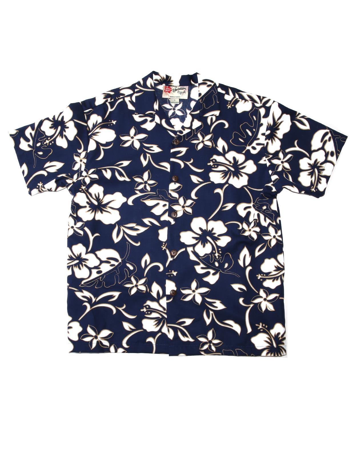 White Hibiscus Classic Cotton Hawaiian Shirt Short Sleeves