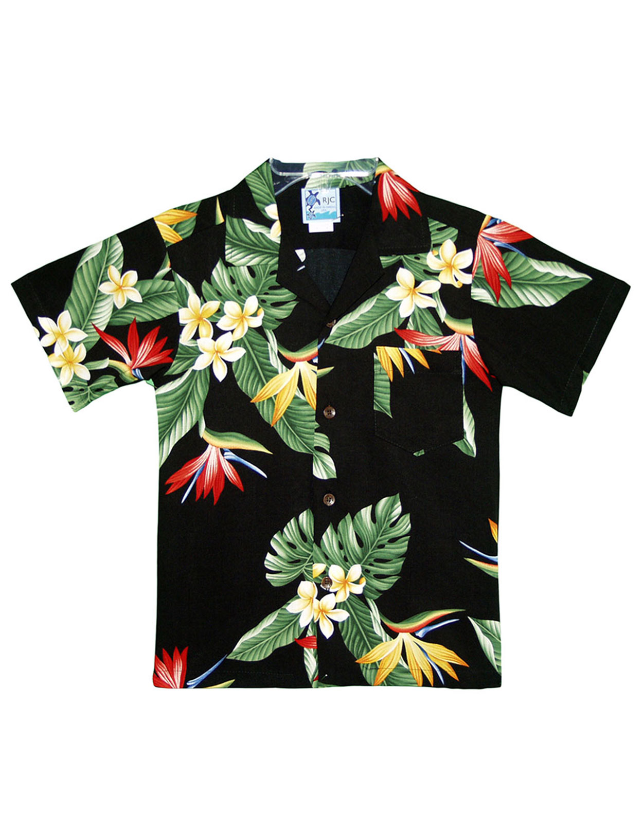 Boys Hawaiian Rayon Shirt Birds Of Paradise Shaka Time Hawaii