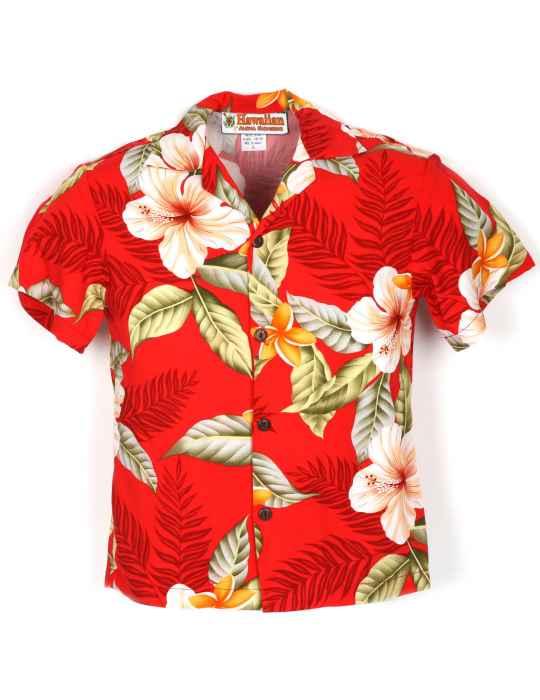 91eb276fc1 Boys Hawaiian Shirt Ula Ula Hibiscus Red